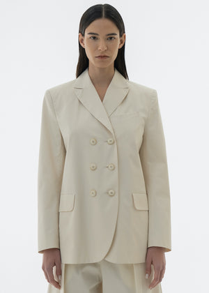 COTTON ROUND DOUBLE BLAZER CREAM
