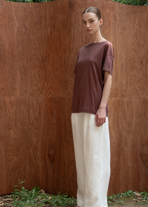 SILKET LOOSEFIT TOP BROWN