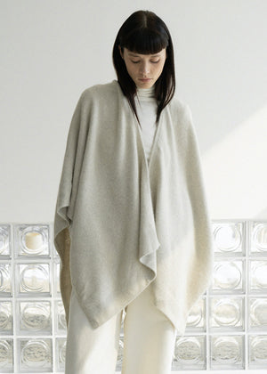 ORGANIC WOOL LAYERED SHAWL CARDIGAN