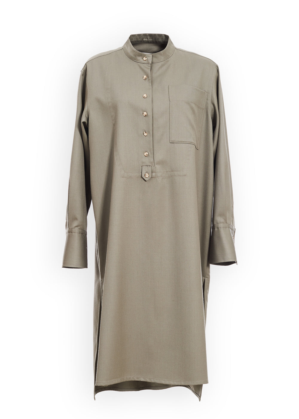 STITCHED SHIRT DRESS KHAKI