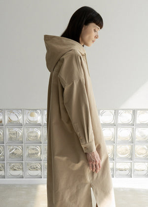 ORGANIC COTTON HOOD LONG JACKET BEIGE