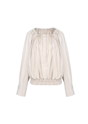 SHIRRING BLOUSE BEIGE