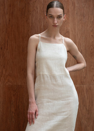STRAP BACKCROSS DRESS NATURAL