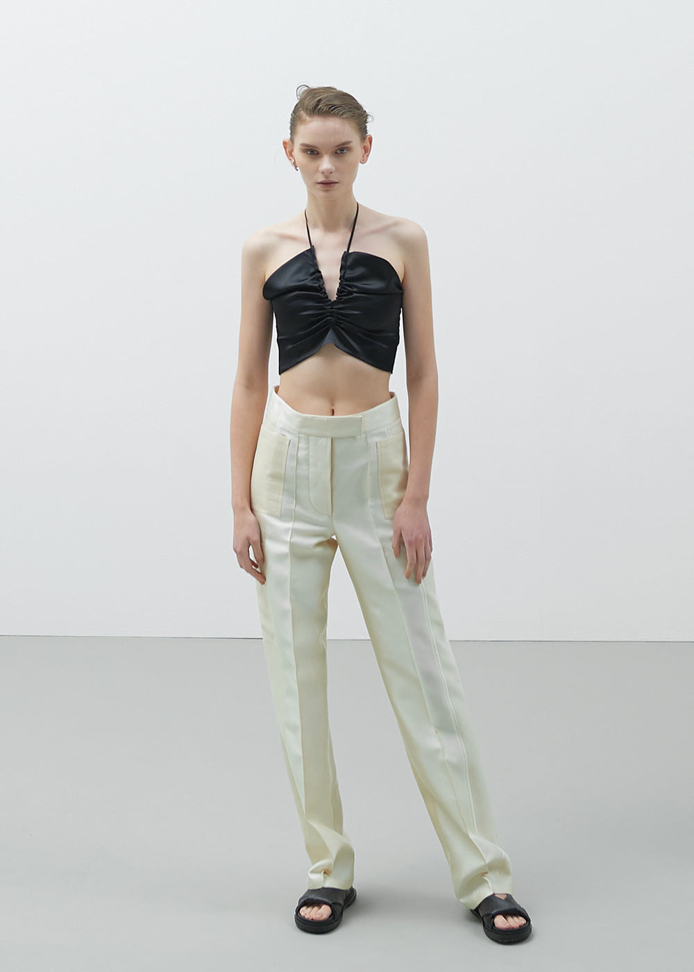 SILK POCKET PANTS CREAM
