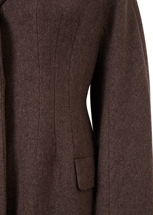 CORSET FIT WOOL COAT BROWN
