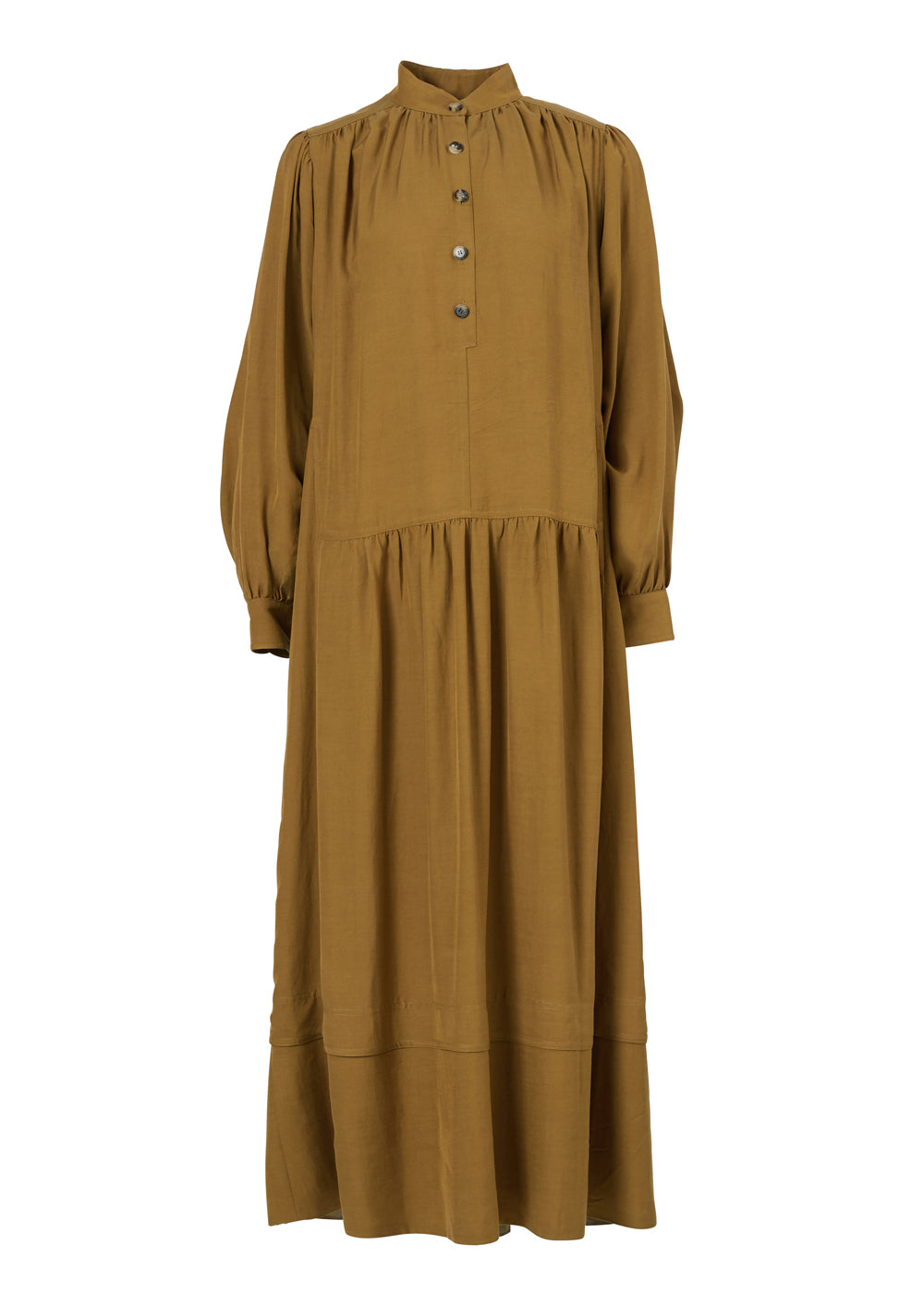 SHIRRING LONG DRESS MUSTARD GREEN