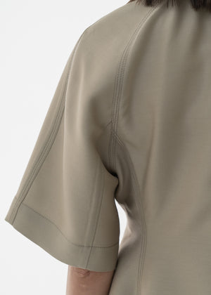 SILK HALF SLEEVE JACKET BEIGE