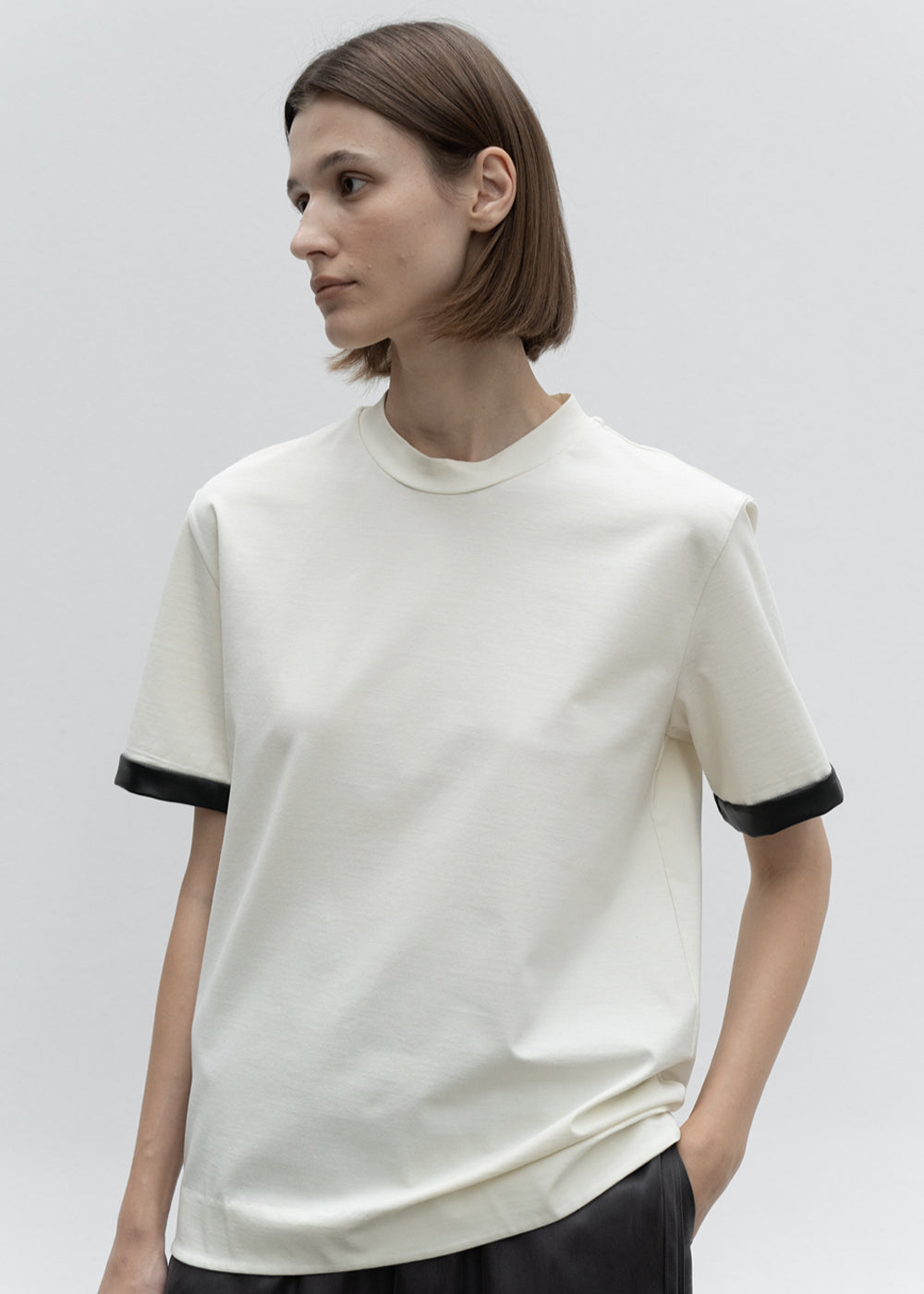 SLEEVE LEATHER COMBI JERSEY TOP CREAM
