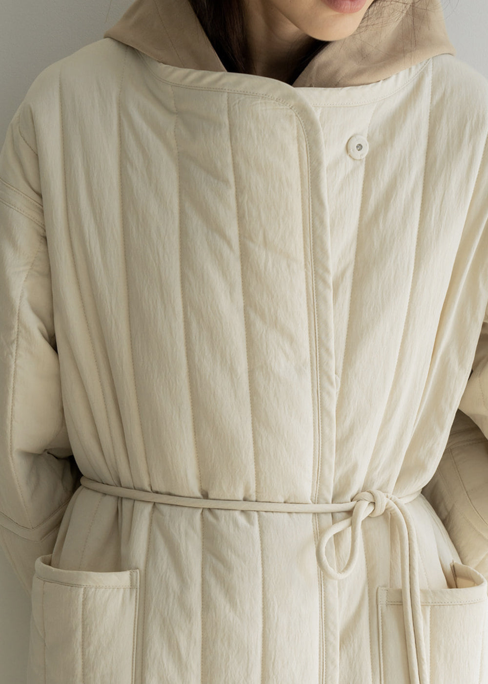 STRING PADDING COAT CREAM