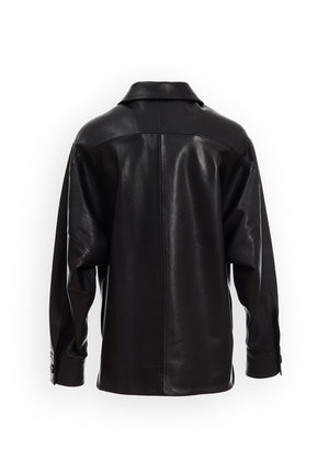 GOATSKIN LEATHER OVERFIT JACKET