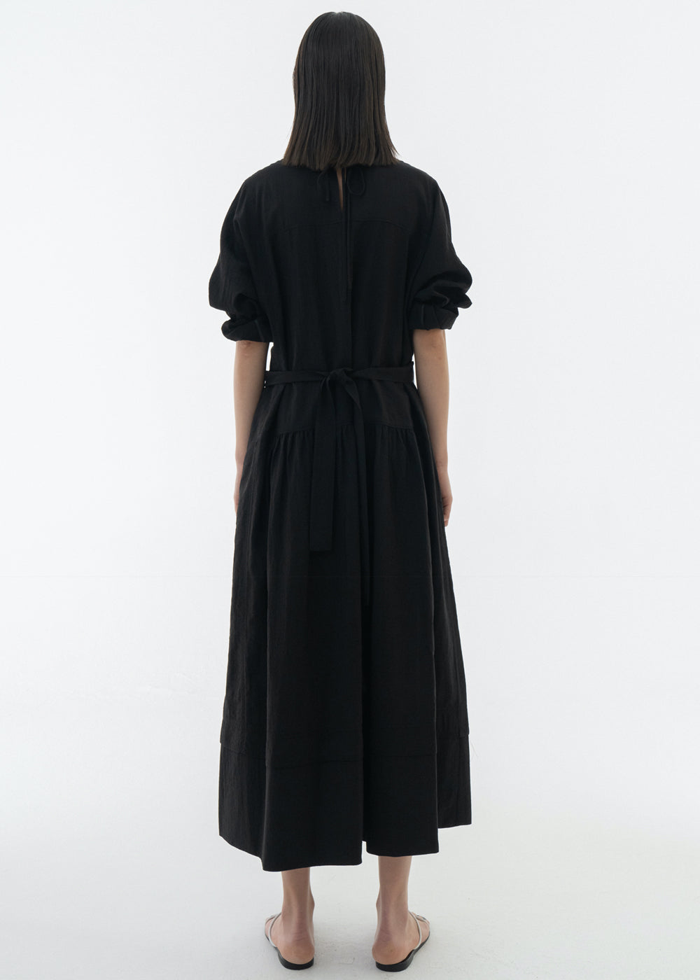 REVERSIBLE SHIRRING DRESS BLACK