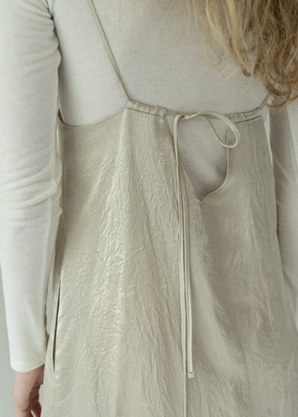 LAYERED SATIN DRESS CREAM