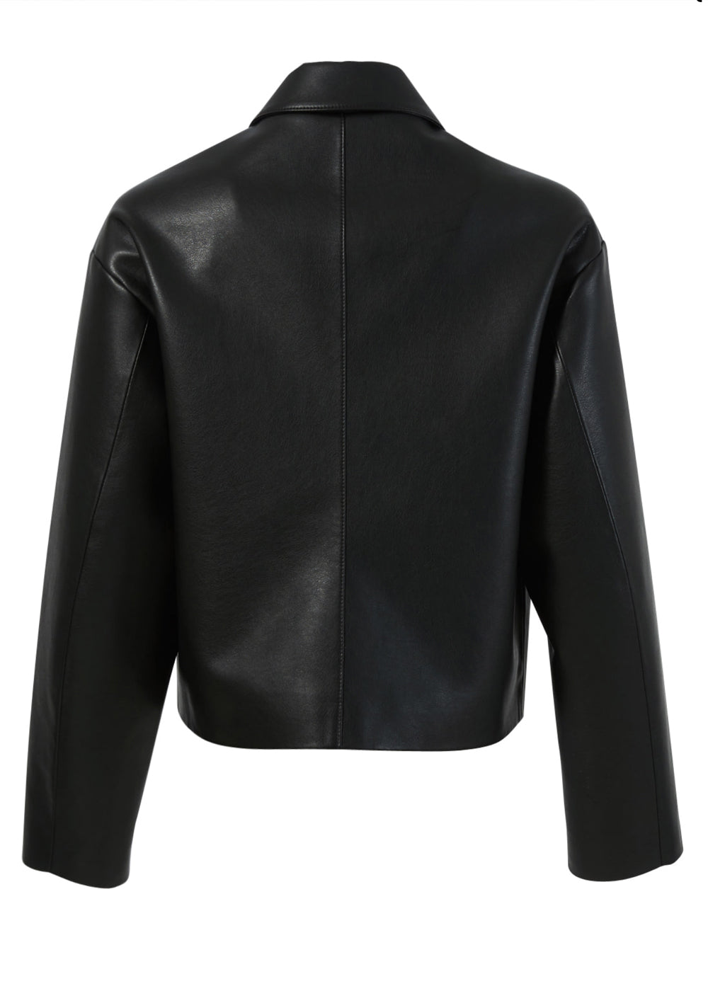 MODERN FAUX LEATHER JACKET BLACK
