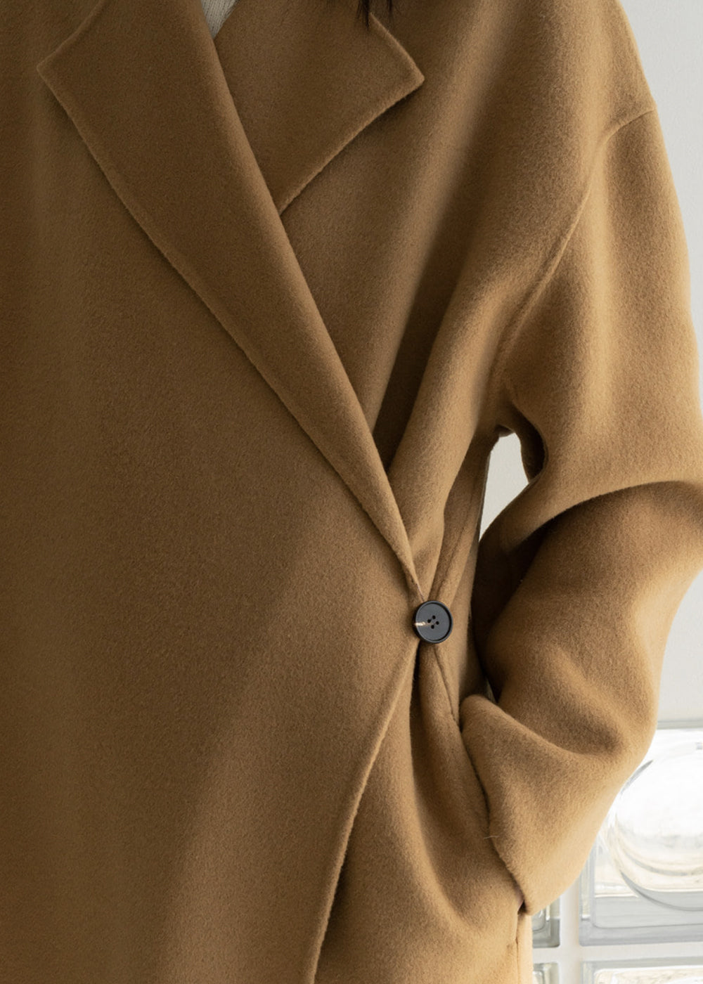 HANDMADE WOOL ONE BUTTON COAT CAMEL