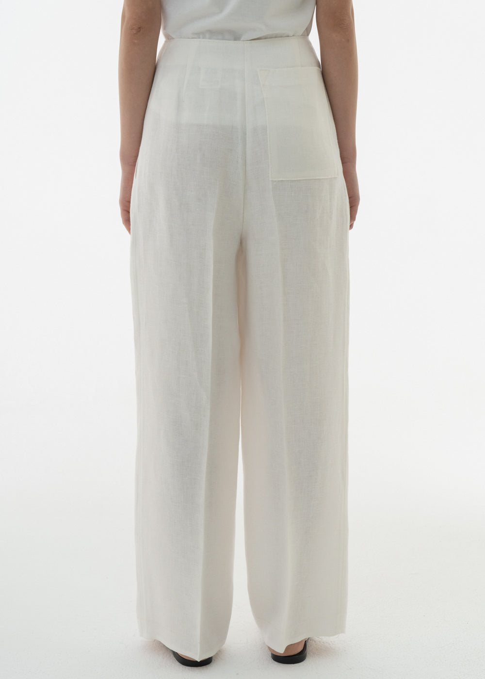 LINEN OVERLAP PANTS WHITE