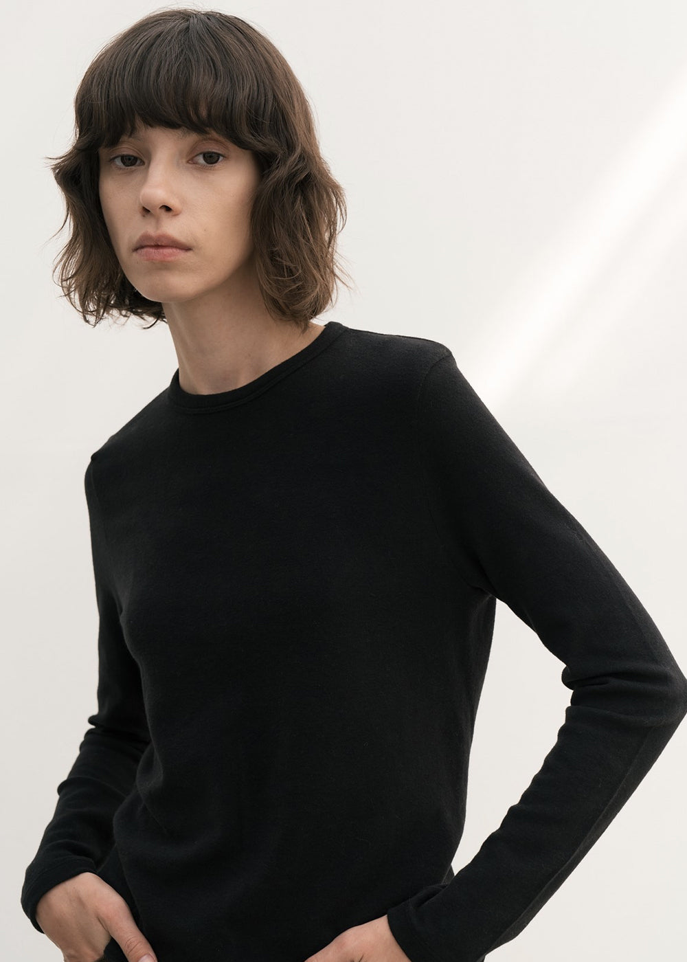 SLIM PEACH SPAN ROUND T SHIRT BLACK