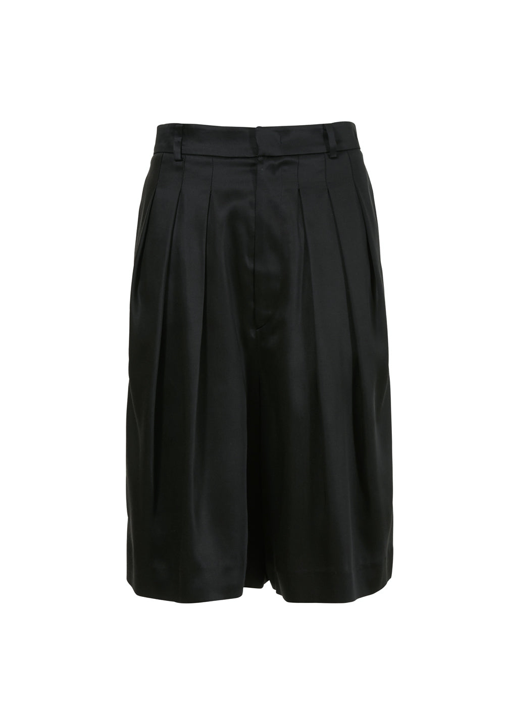 SATIN PLEATS HALF PANTS BLACK
