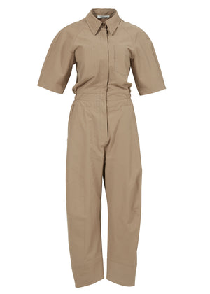 JOGGERFIT COTTON JUMPSUIT BEIGE