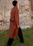 BELTED COTTON COAT ORANGE BROWN