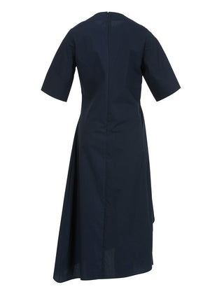 SHIRRING UNBALANCE COTTON DRESS NAVY