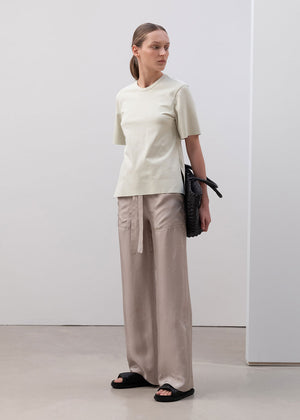 SQUARE STITCHED PANTS BEIGE