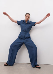 WIDE JUMP SUIT BLUE