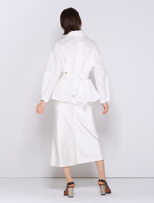 LINEN PLEATS JACKET WHITE