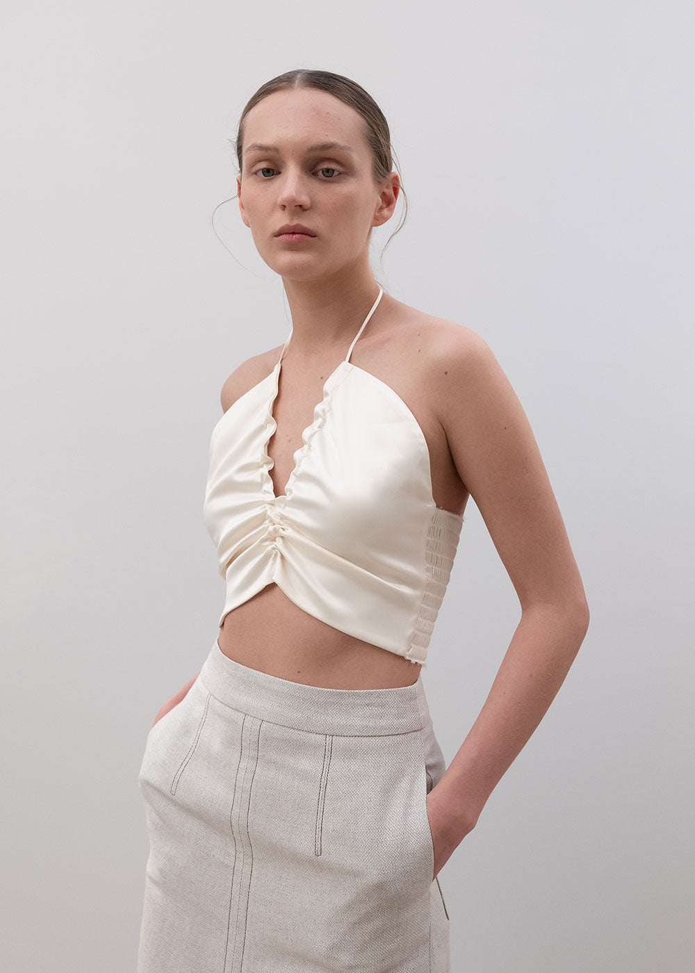 SHIRRED BUSTIER IVORY