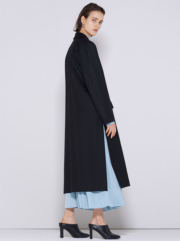 WOOL LONG SLIT COAT BLACK