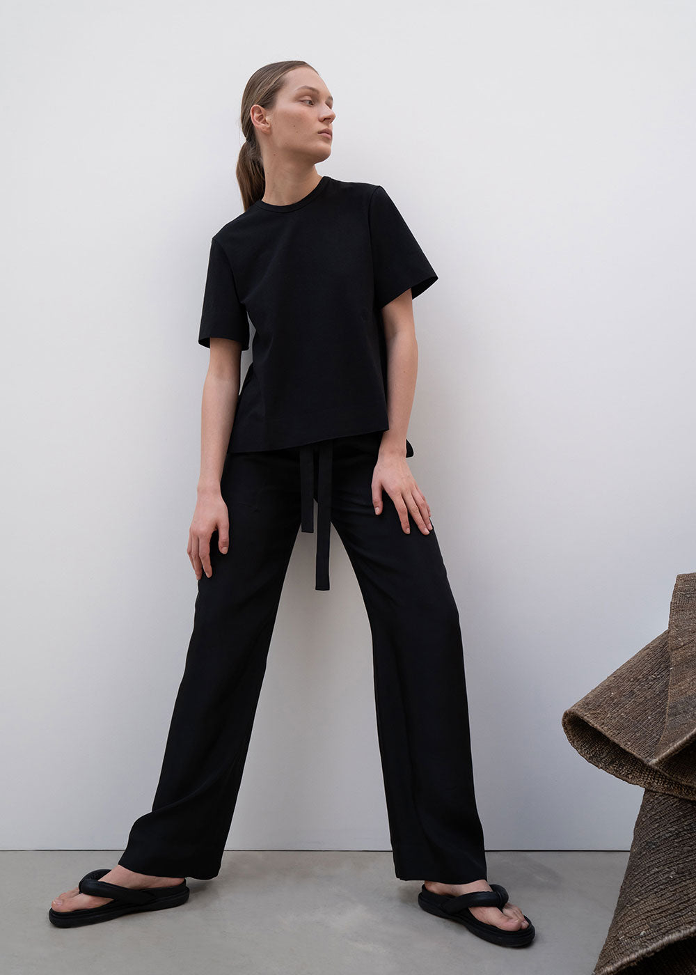SQUARE STITCHED PANTS BLACK