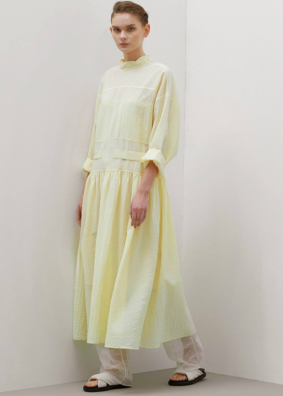 STITCHED LONG DRESS YELLOW