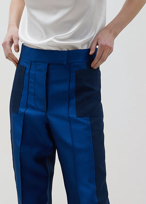 SILK POCKET PANTS NAVY