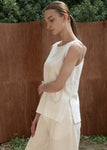 COTTON SLIT SLEEVELESS TOP WHITE