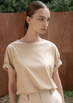 SILKET LOOSEFIT TOP BEIGE