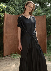 SATIN SLIP SET DRESS BLACK
