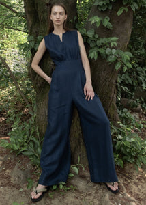SLEEVELESS WIDE JUMPSUIT NAVY