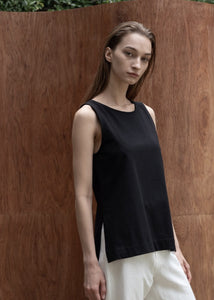 COTTON SLIT SLEEVELESS TOP BLACK