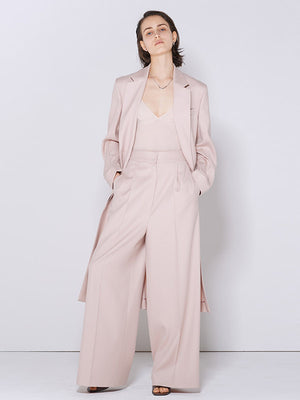 WOOL LONG SLIT COAT PINK