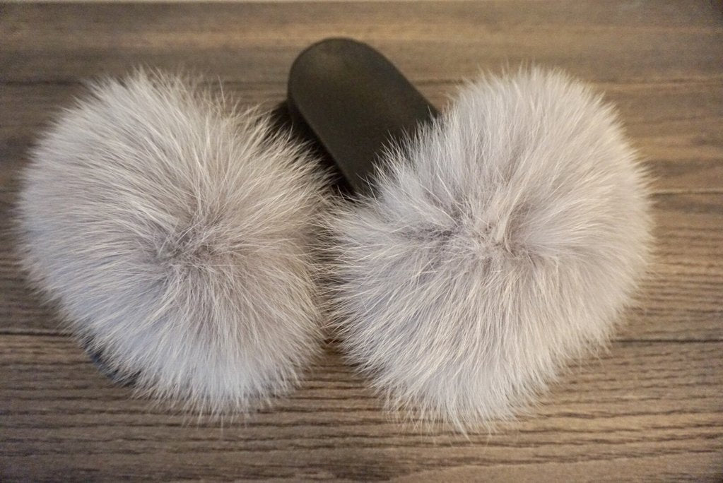 2423019d374 Cool Gray Fur Slides - Luxe   Lavish