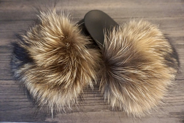92ccb72d7b9 Natural Brown Fur Slides - Luxe   Lavish