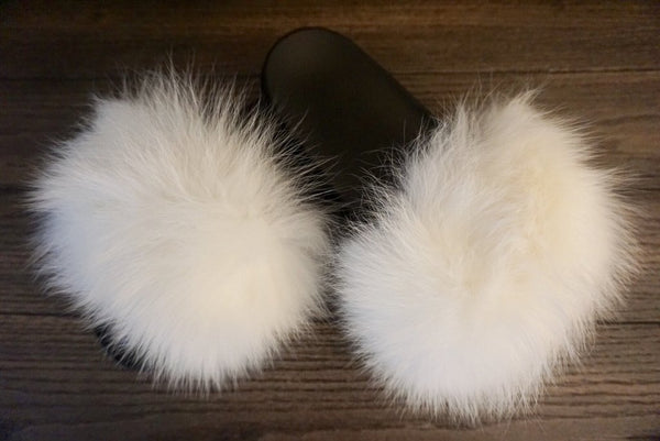 8f33ef81839 Icy White Fur Slides - Luxe   Lavish