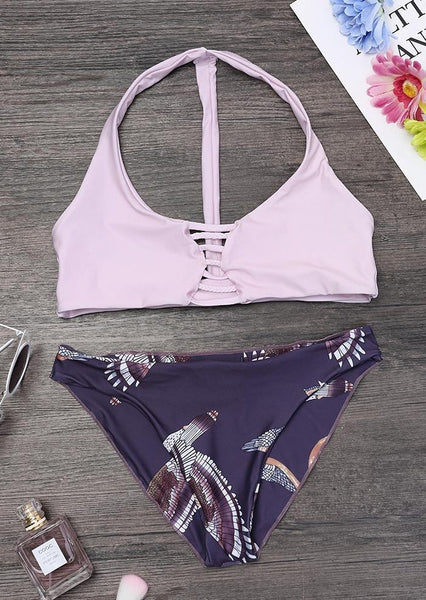 Birds Printed Hollow Out Sexy Bikini Set