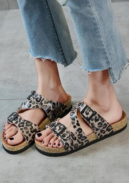 Leopard Printed Buckle Strap Sandals