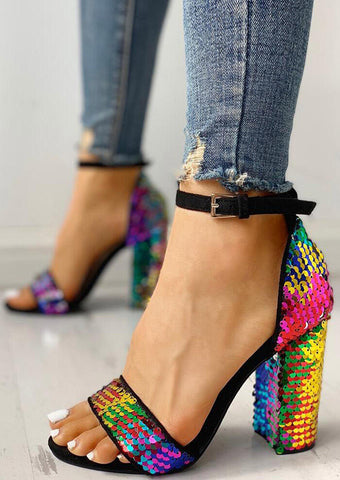 Sequined Ankle Strap Heeled Sandals