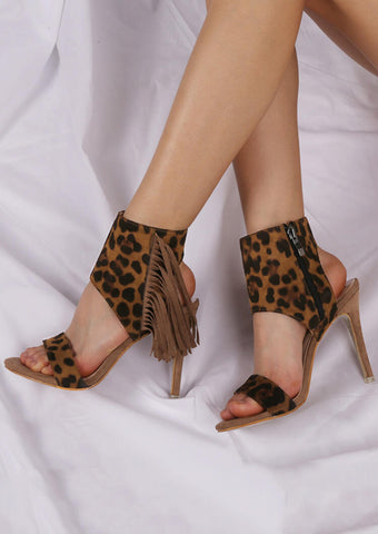 Leopard Printed Fringe Heeled Sandals