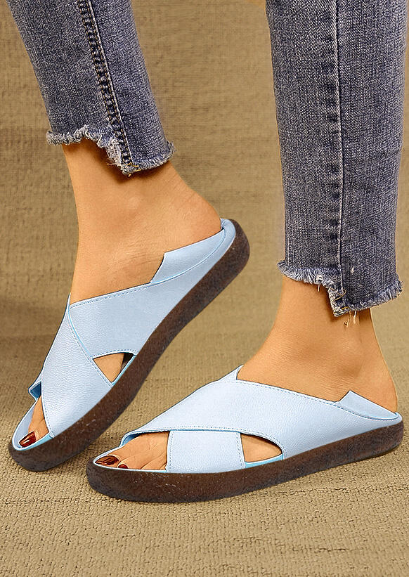 Solid Cross Flat Sandals