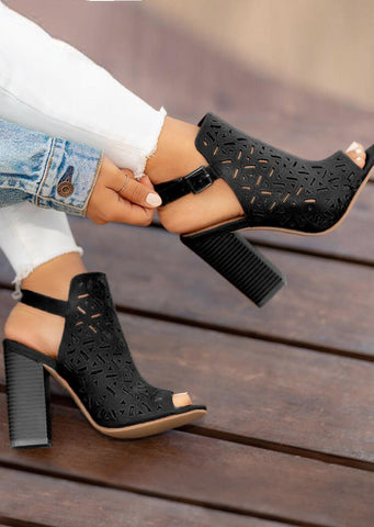 Solid Buckle Strap Peep Toe Heeled Sandals