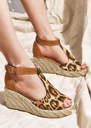Leopard Printed Buckle Strap Wedge Sandals