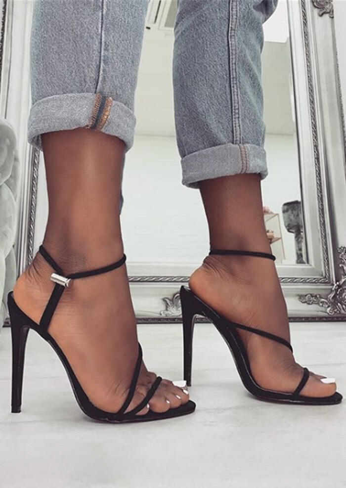 Solid Pointed Toe Heeled Sandals