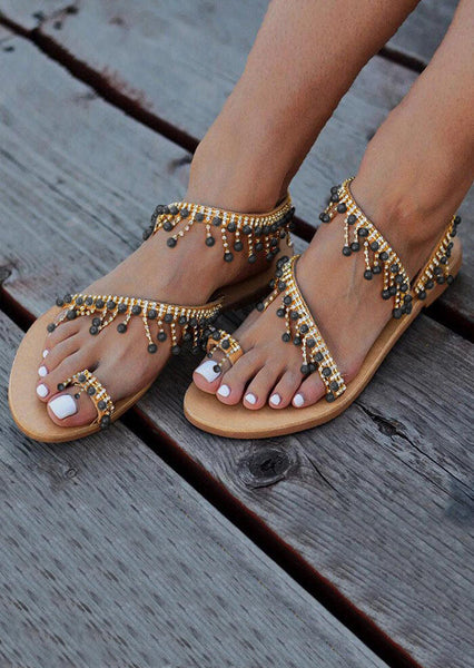 Summer Beading Round Toe Flat Sandals - Light Brown